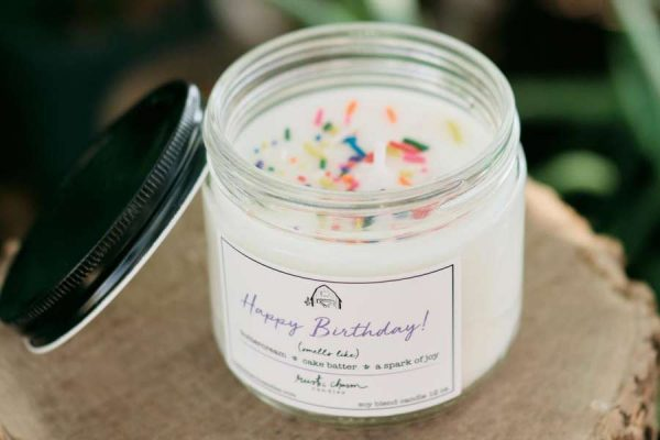 Happy Birthday! candle opened to show colorful sprinkles on top