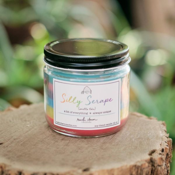 Silly Serape 12 oz. candle showcasing multiple layers of wax
