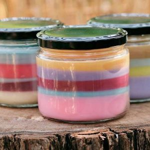 3 Silly Serape candles showing how each one has a unique set of scent layers